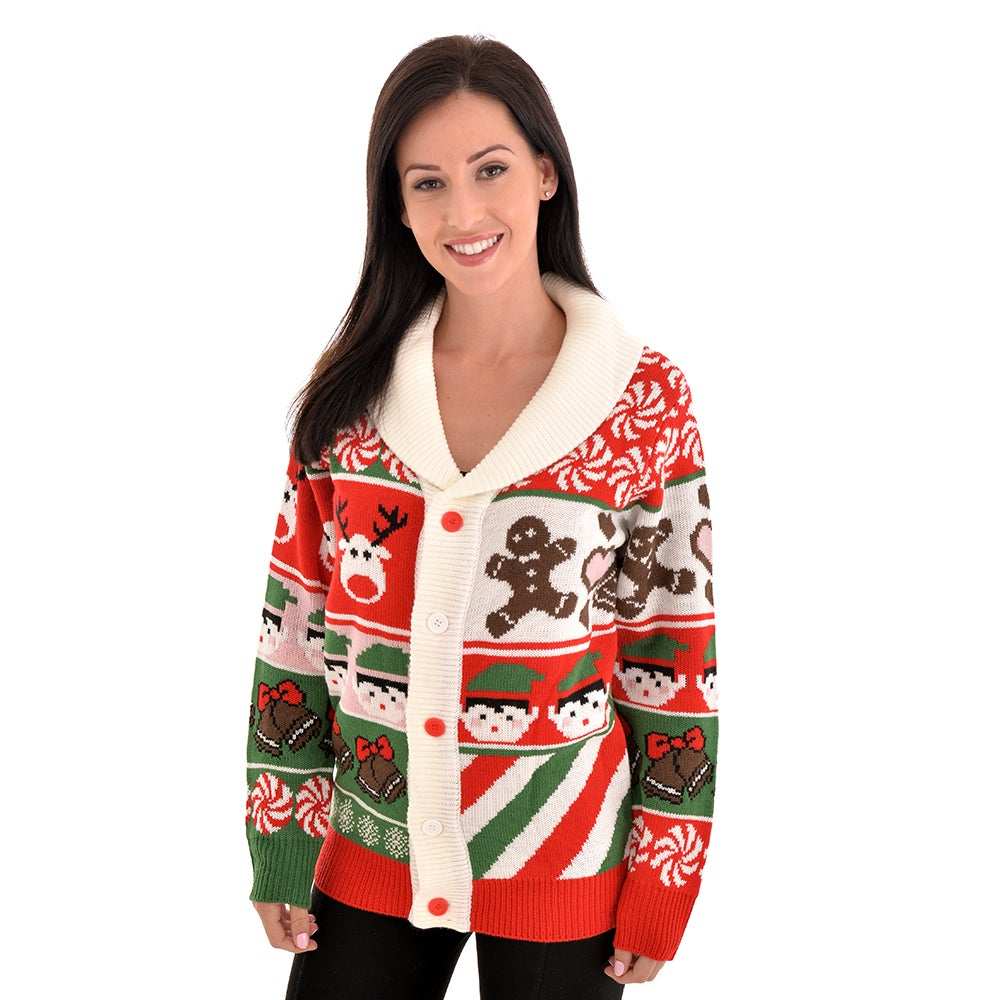 Christmas Cardigan.Sweet Candy Cookies Christmas Cardigan Unisex