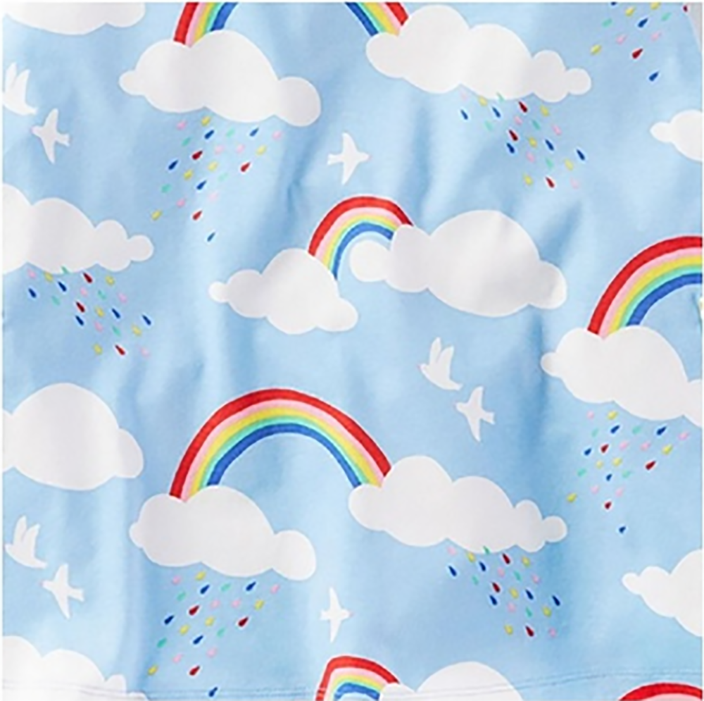 Image of white clouds rainbow girl dress