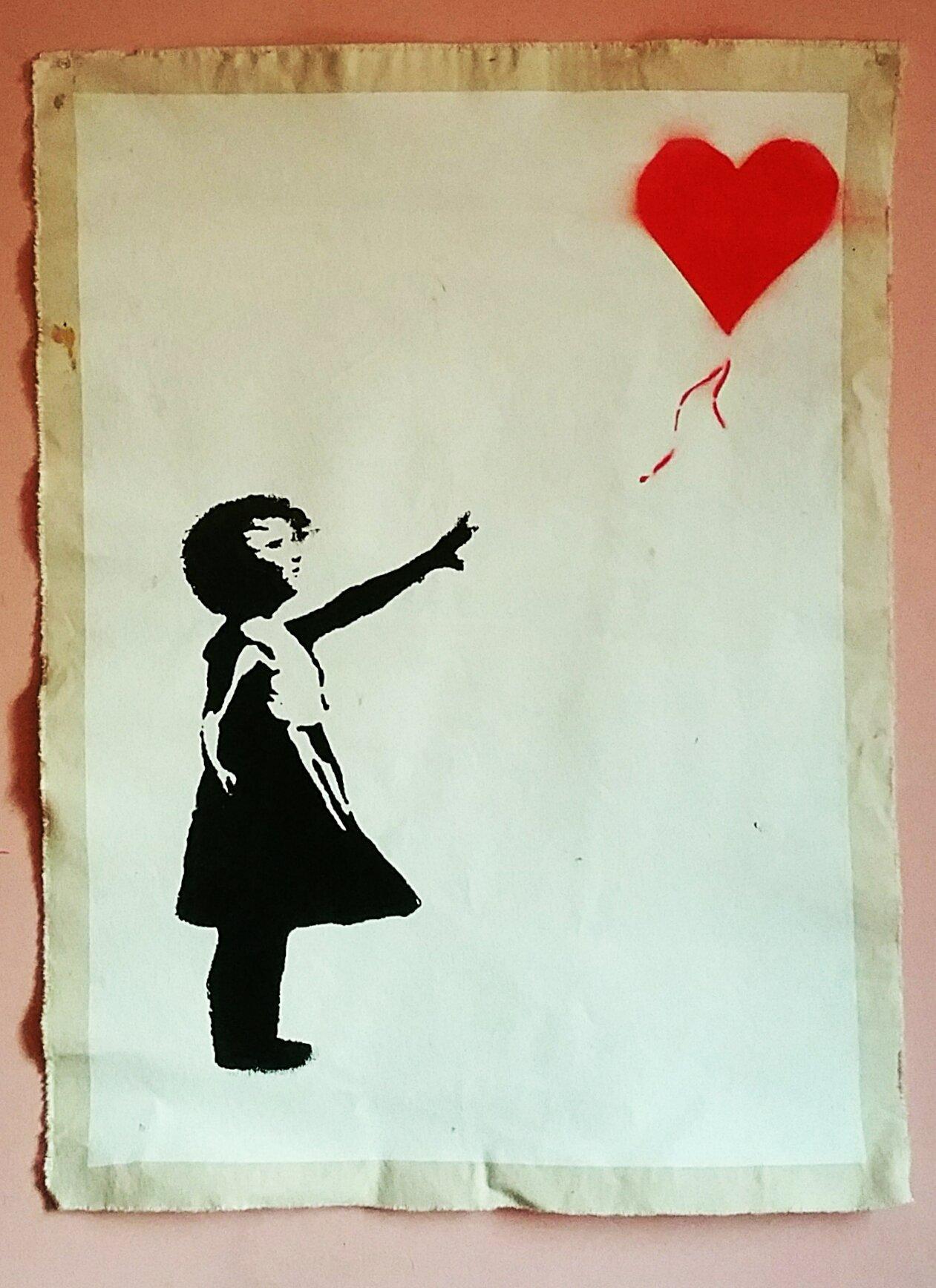 "Image of ""Banksy.""  Original silkscreen on Canvas."