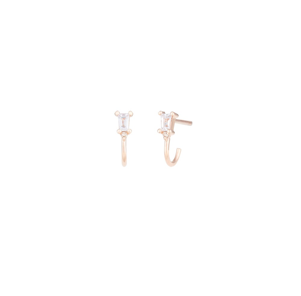 Image of Baguette Mini Hoop Earring