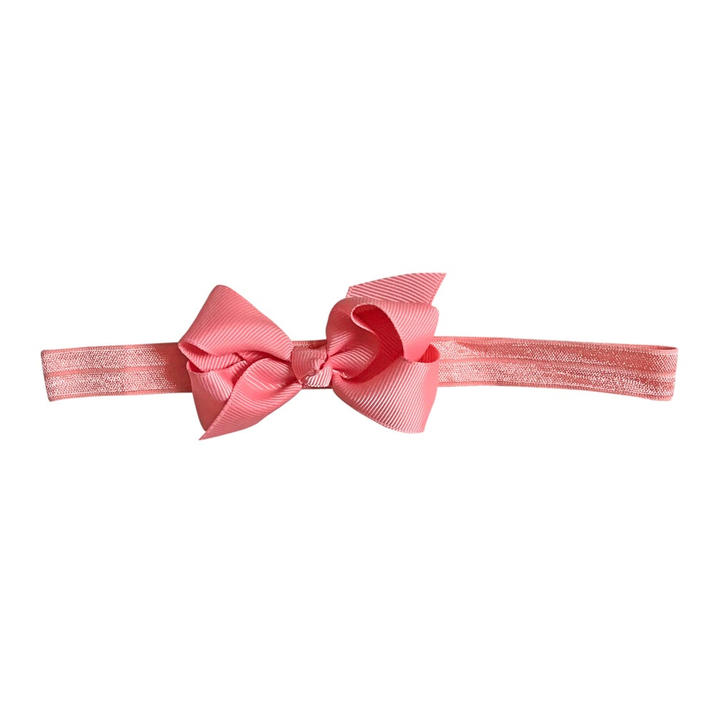 Image of Coral Baby Bow Headband