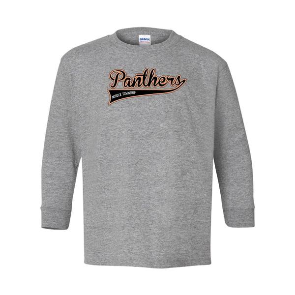 Image of Youth Panthers Logo Longsleeve Tee (Grey)