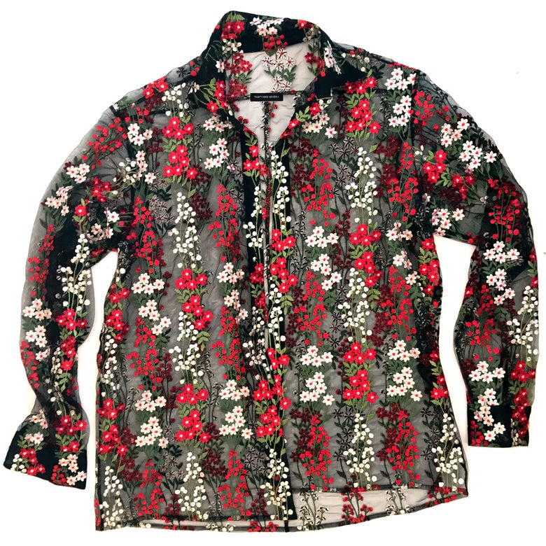 """Image of JUSTINE BUTTON-DOWN FLOWY TOP- """"THE GARDEN"""""""