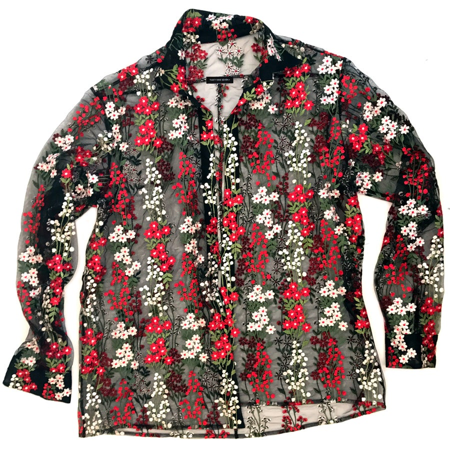 "Image of JUSTINE BUTTON-DOWN FLOWY TOP- ""THE GARDEN"""