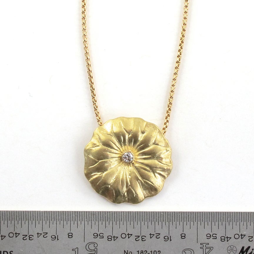 Image of Lotus Leaf Diamond 18k Pendant
