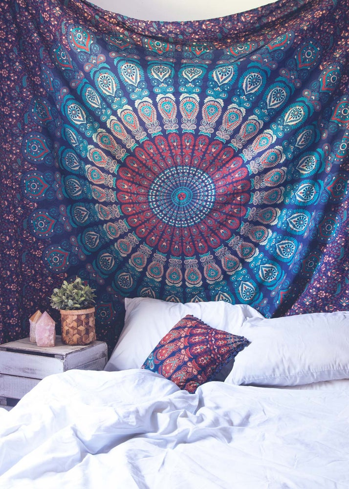 Image of Azure Mandala Tapestry