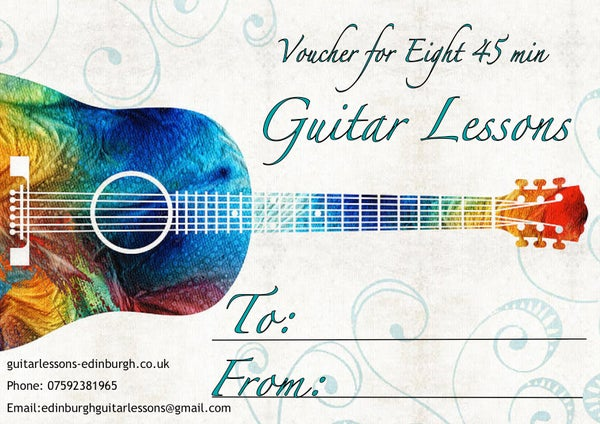 Image of Guitar Lesson Gift Voucher. Eight 45 min lessons