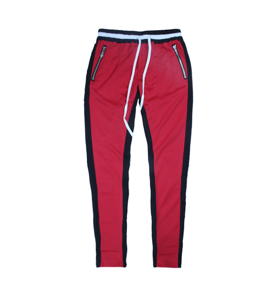 Image of Night Grind Red / Black striped track pants