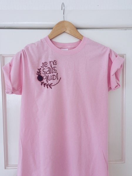 Image of Je ne sais quoi - hand embroidered t shirt