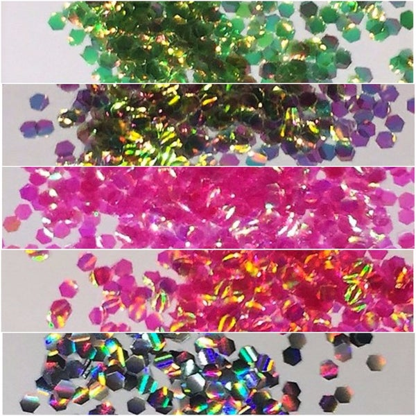 Image of Iridescent Fish-Eye Glitter 2mm Hex (for Nail Art only)