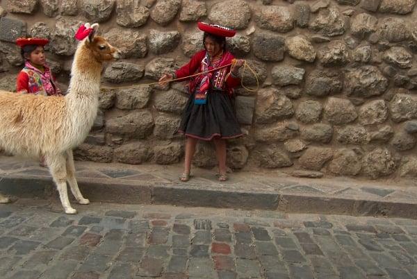 Image of framed print of original photograph - girl with llama