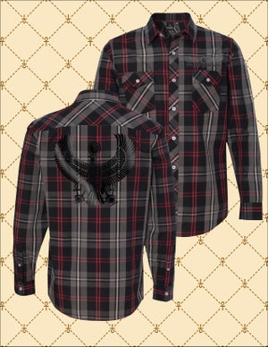 Image of MEN'S BLACK HRU PLAID BUTTON DOWN SHIRT