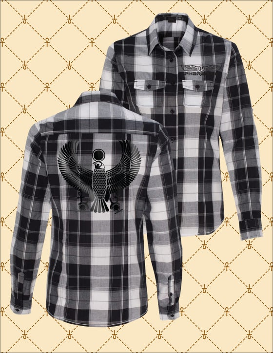 Image of WOMEN'S BLACK HRU PLAID BUTTON DOWN SHIRT