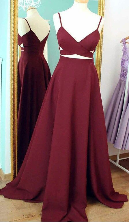 16ef0cad0be75 Image of Burgundy Two Piece Prom Dresses 2018, Prom Dress Burgundy, Long  Prom Dress ...