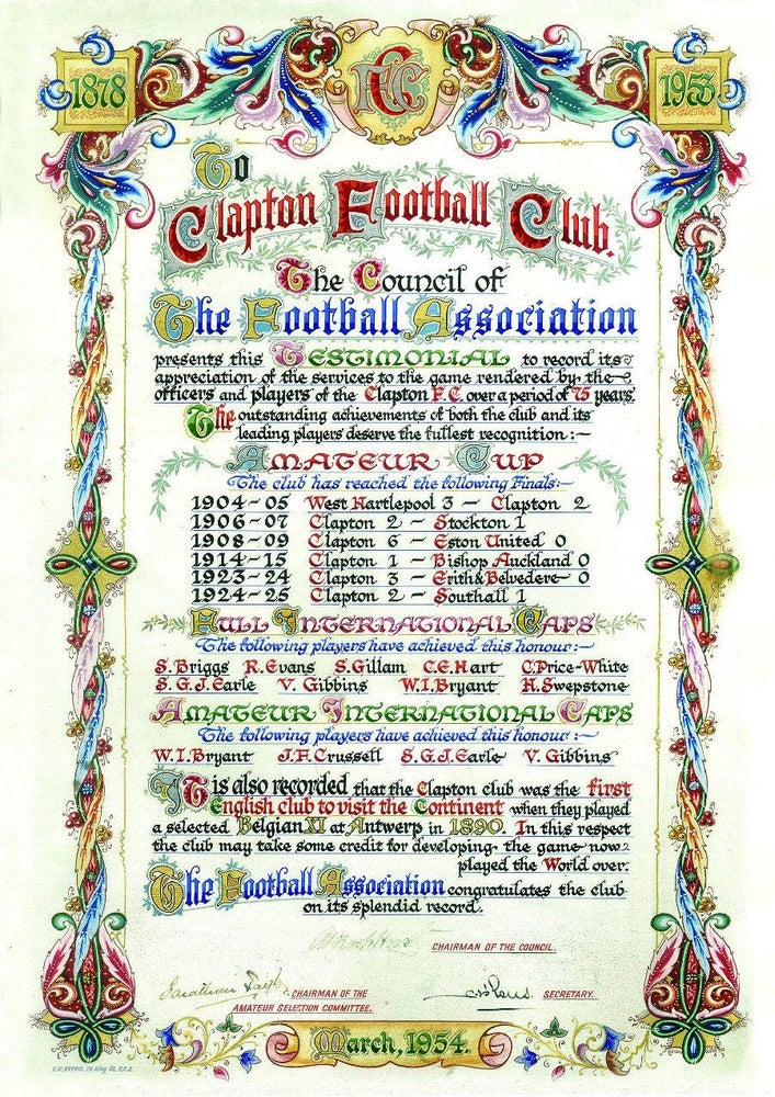 Image of Clapton FC Testimonial Scroll Limited Edition Print