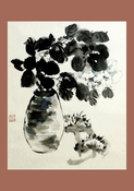 Image of framed print of Chinese Painting on canvas - Untitled