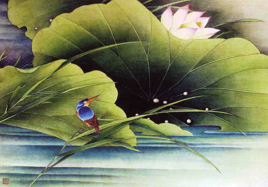 Image of framed print of Chinese Painting on canvas - Lotus Pond Alba