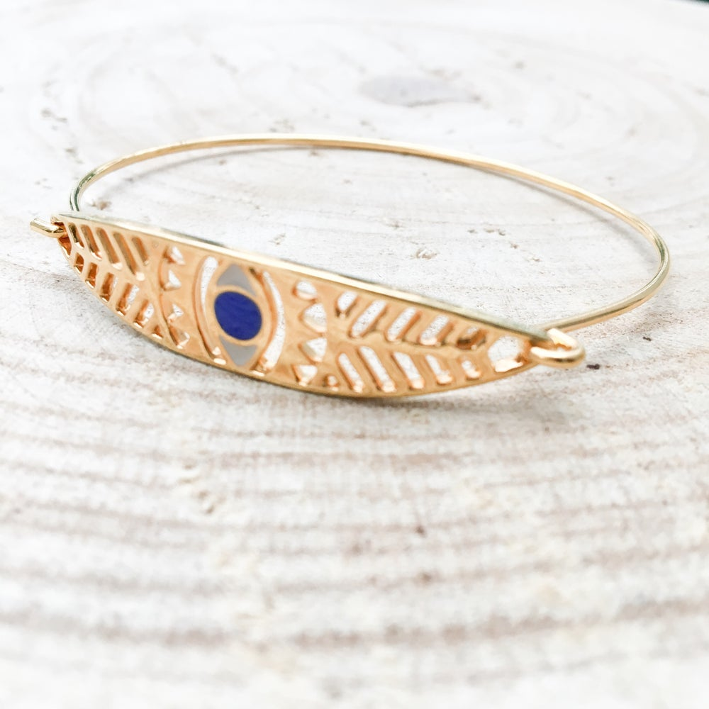 Image of Jonc HORUS   Noir-Emeraude -Bleu - HORUS Bangle