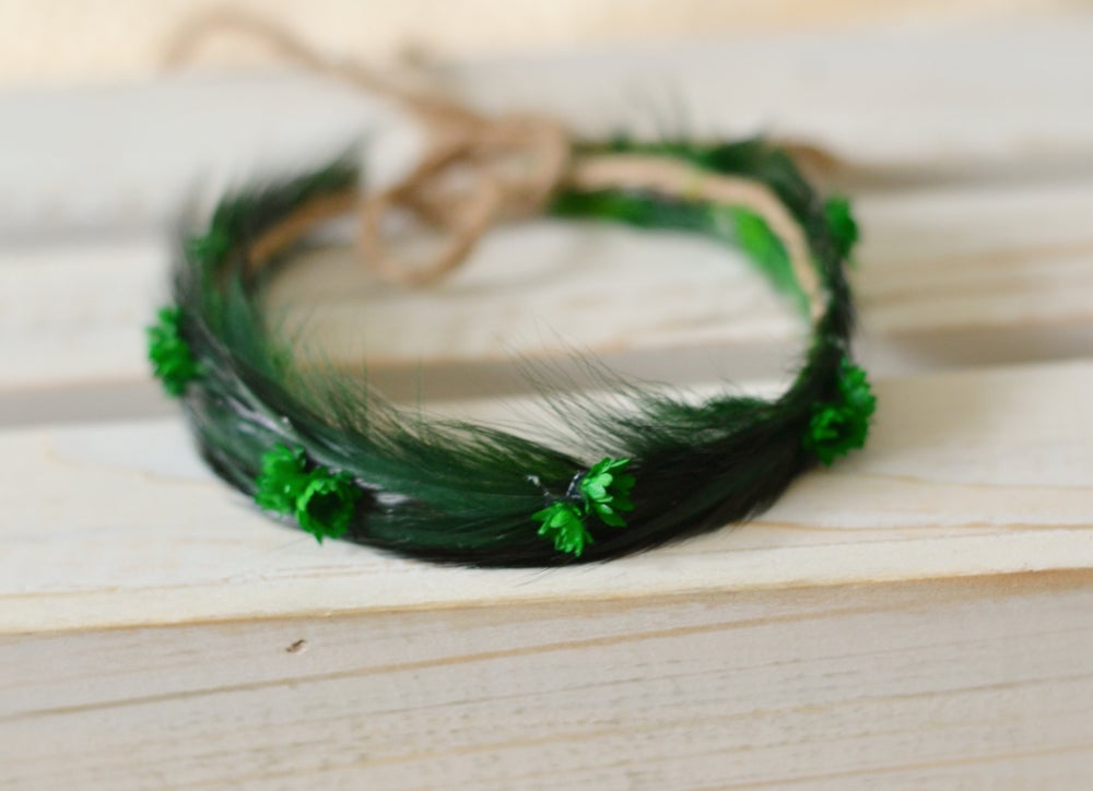 Image of Feathers and flowers halo emerald