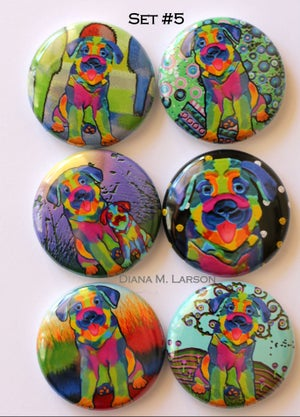 "Image of Dog 1"" Flair buttons Set 1-5"