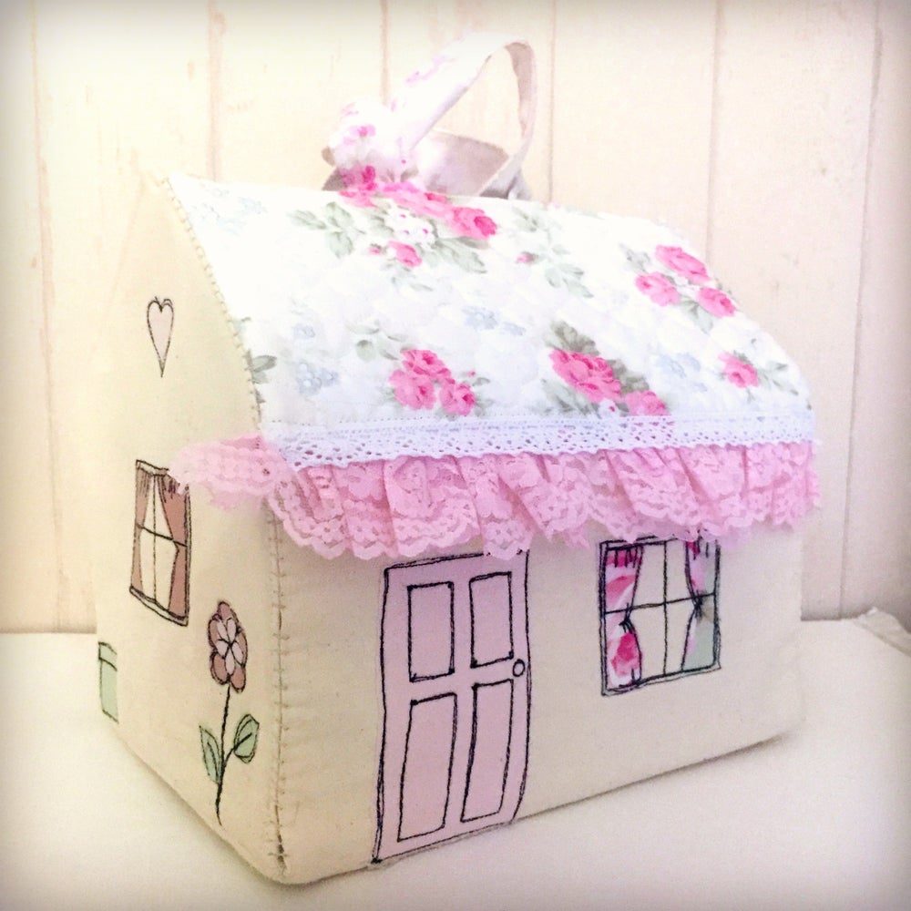 Image of Pattern to make a fold out calico cottage playhouse