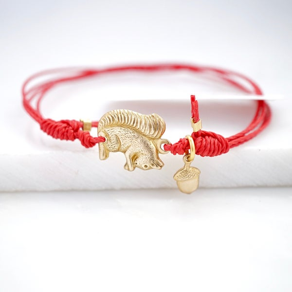 Image of Squirrel and acorn friendship bracelet ,woodland bracelet,acorn lucky charm