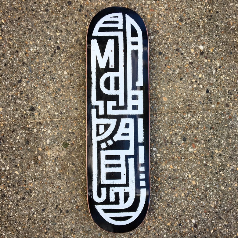 Image of MasPaz Skateboard - Black on White