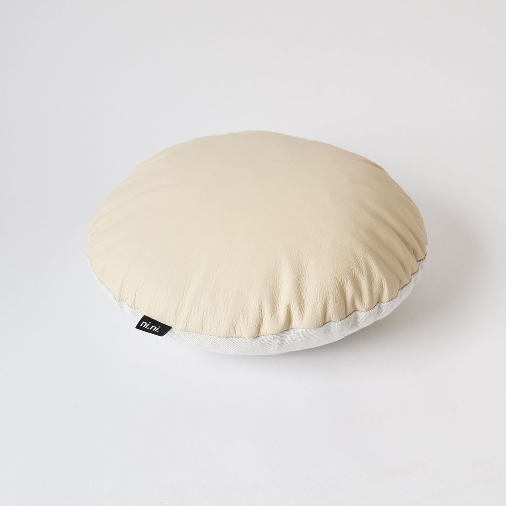 Image of Leather Roundie Cushion Cover - Sandy
