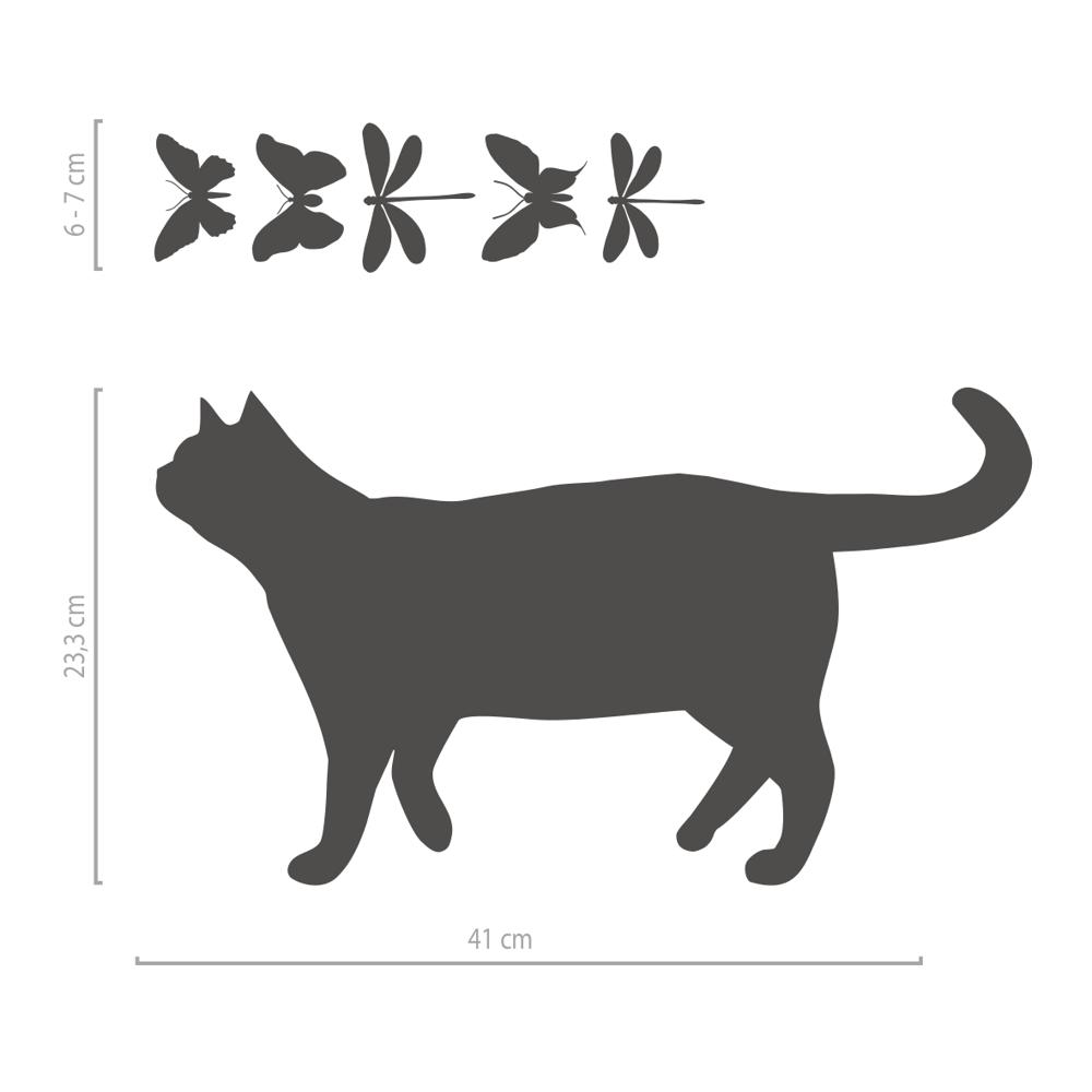 Image of Fensteraufkleber verspielte Katze mit Schmetterlingen und Libellen