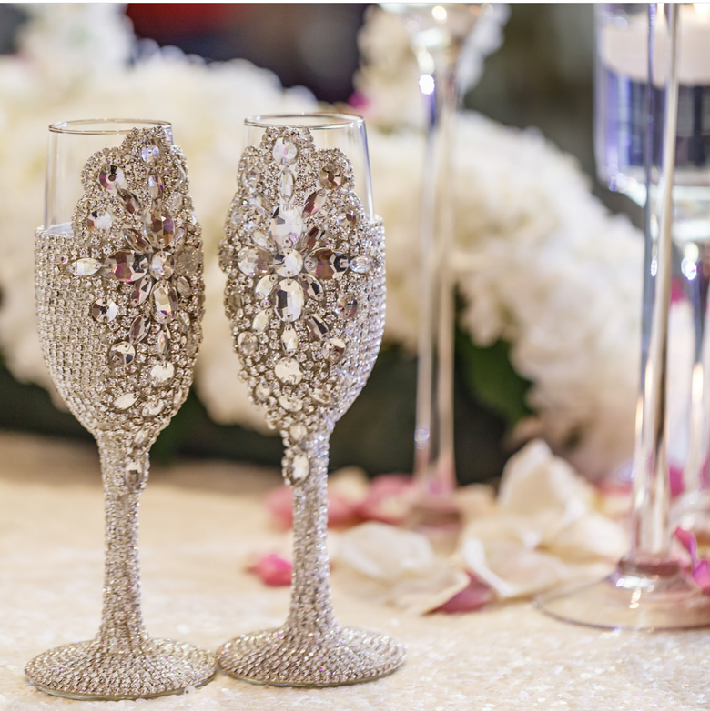 "Image of ""Allison"" Champagne Toasting Glasses ( available in other colors)"