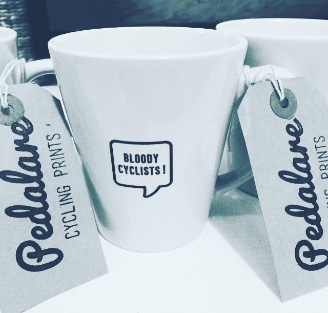 "Image of ""Bloody cyclists!"" latte mug"
