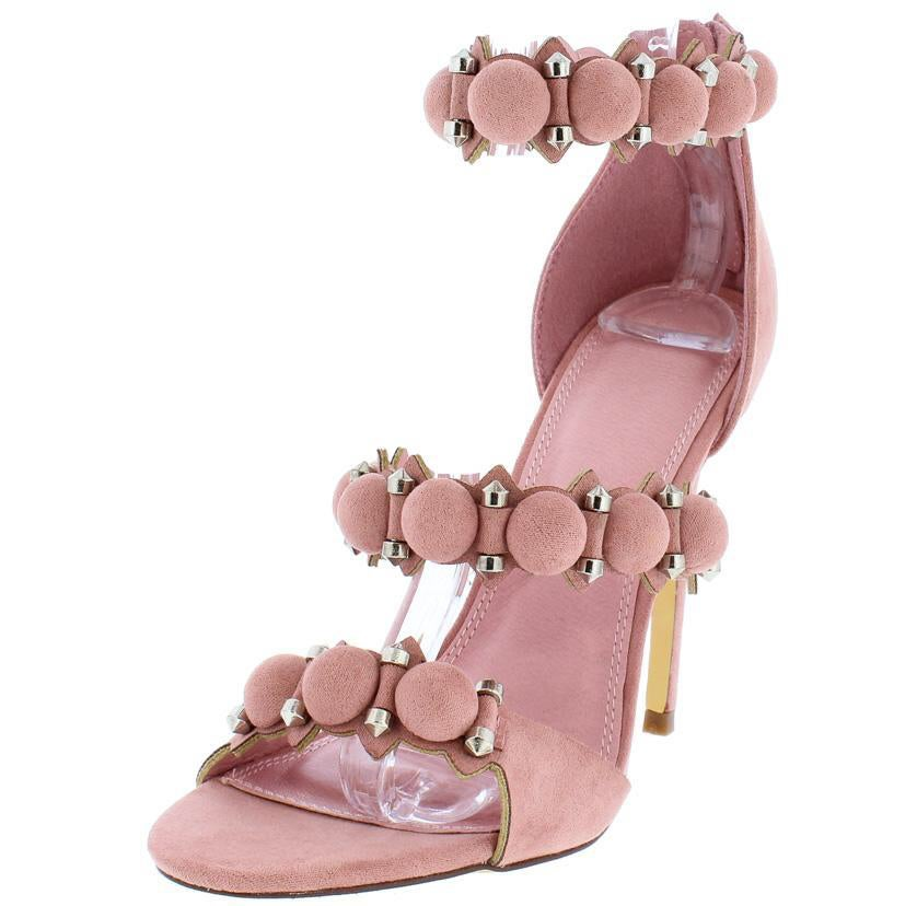 Image of Blush Pink Studded Open Toe Heels