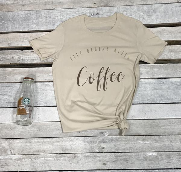 Image of Wholesale- One dozen Life Begins After Coffee Crew neck Tee