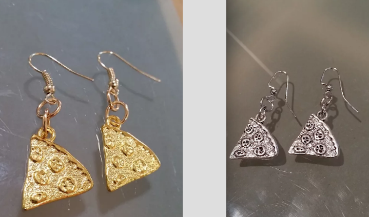 Image of GOLDEN/SILVER SLICE EARRINGS