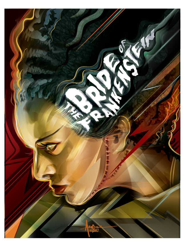 Image of BRIDE OF FRANKENSTEIN- 18x24 edition of 50- 2017