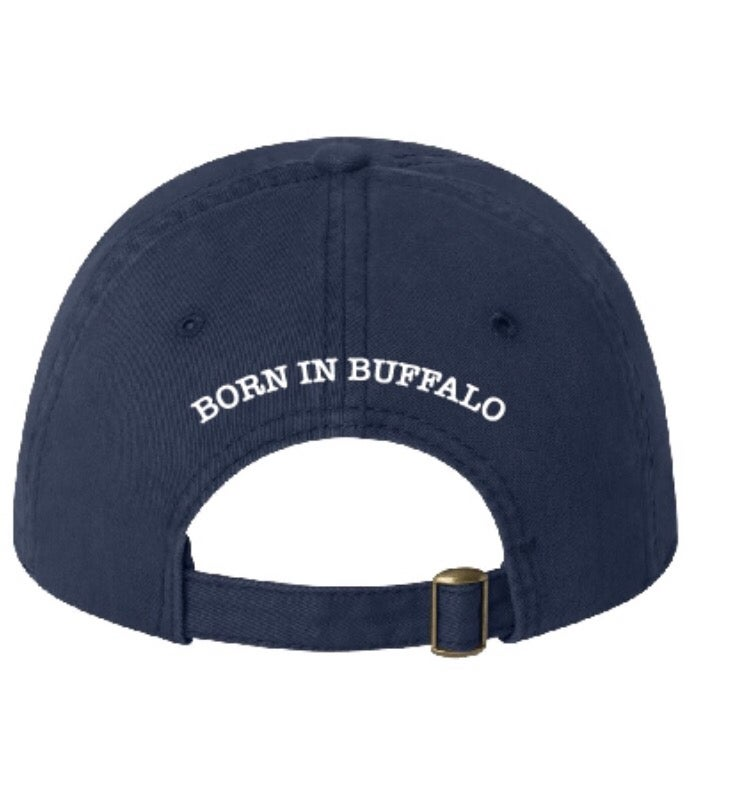 "Image of Navy Blue ""Born in Buffalo"" Hat w/ Gold Buffalo"