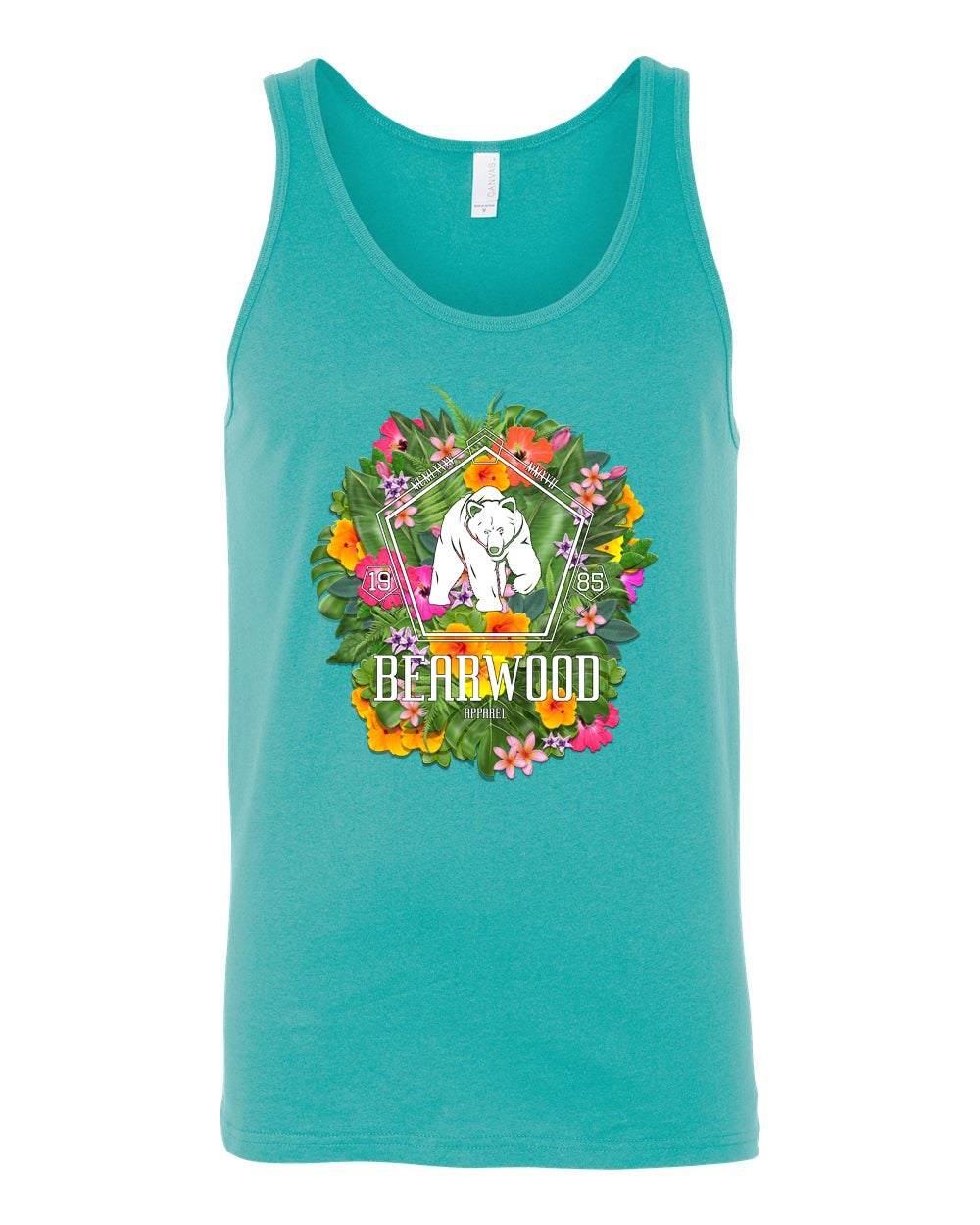 Image of Teal Floral BW Teal Tanktop -  BC 3480