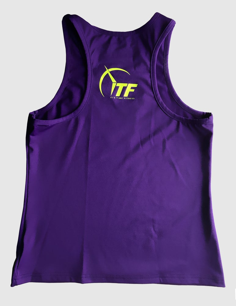 Image of Purlple ITF Safety Yellow Logo Racerback Tank