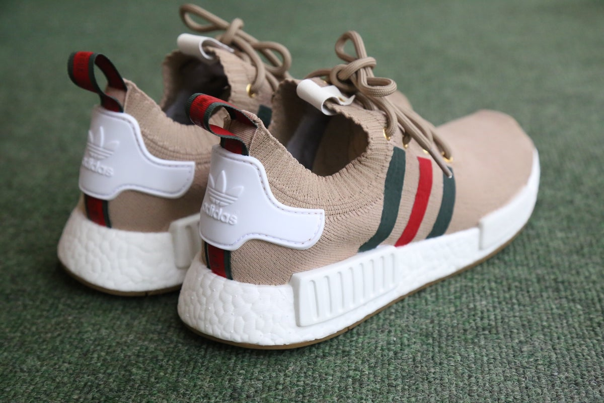 "Image of NMD Tan ""ITALY"" inspired custom"