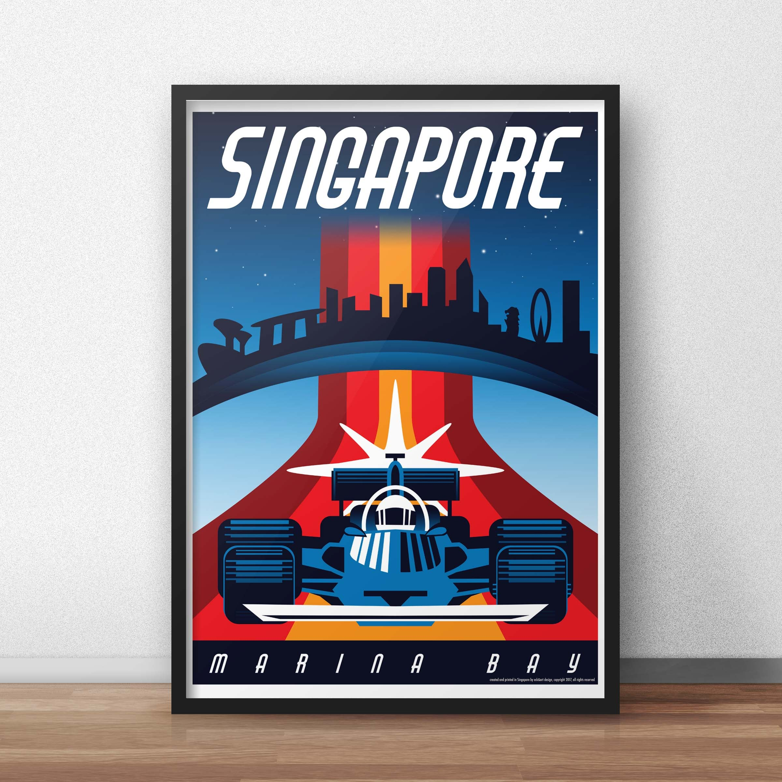 Eck Amp Art Designs Singapore Night Race Vintage Style Travel Poster