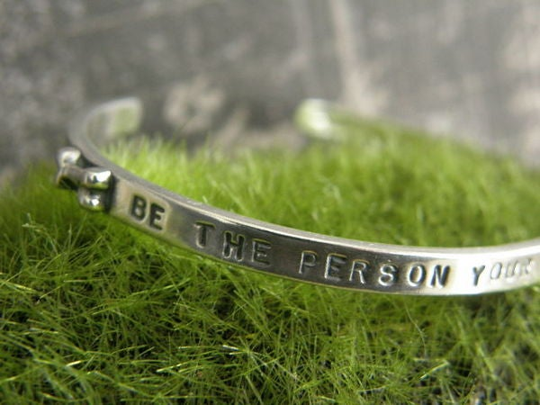 "Image of ""Be The Person Your Dog Thinks You Are"" Sterling Bracelet"