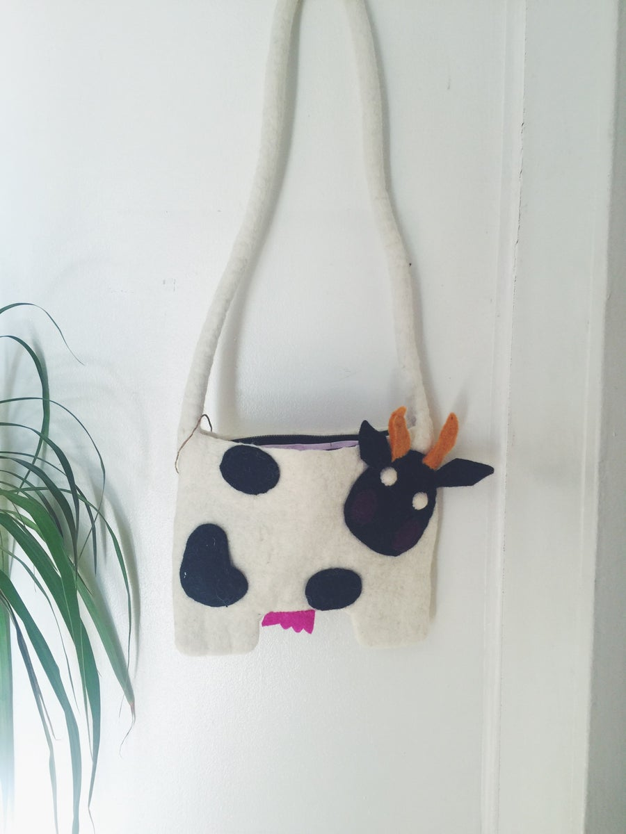 Image of Felted Wool Purse - Cow