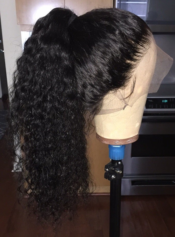 "Image of Indian Wavy/Curly 24"" 360 Lace Frontal Custom Wig"