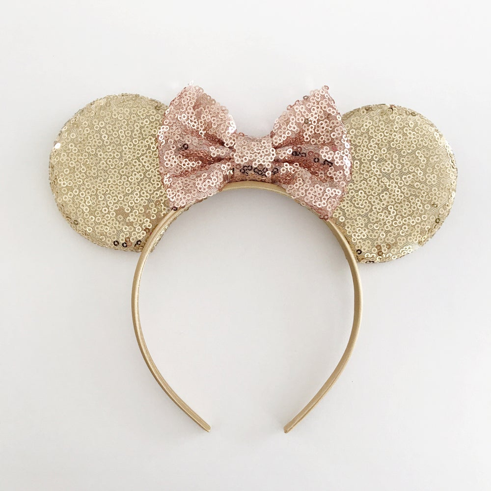Image of Gold sequin mouse ears with rose gold sequin bow