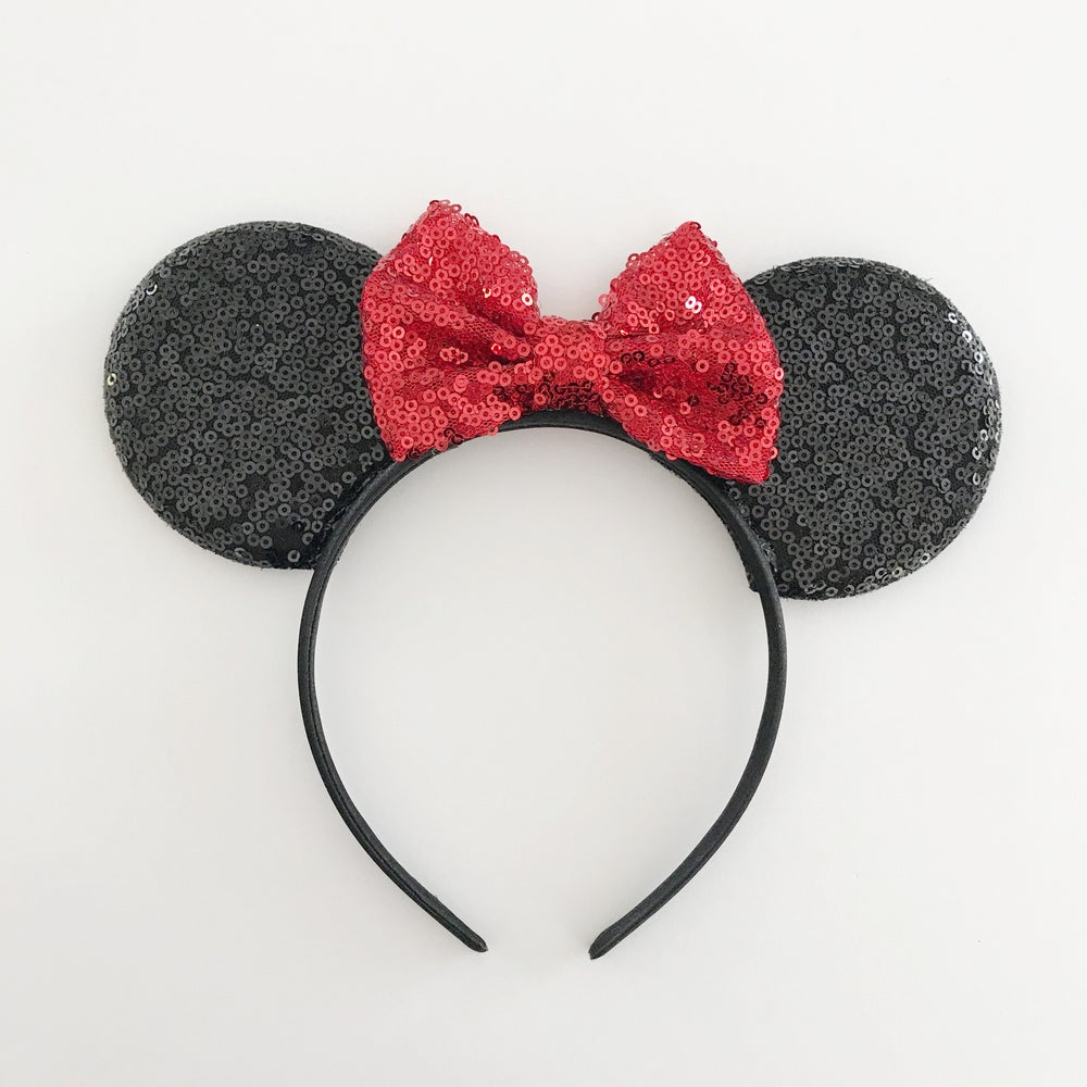 Image of Black sequin mouse ears with red sequin bow