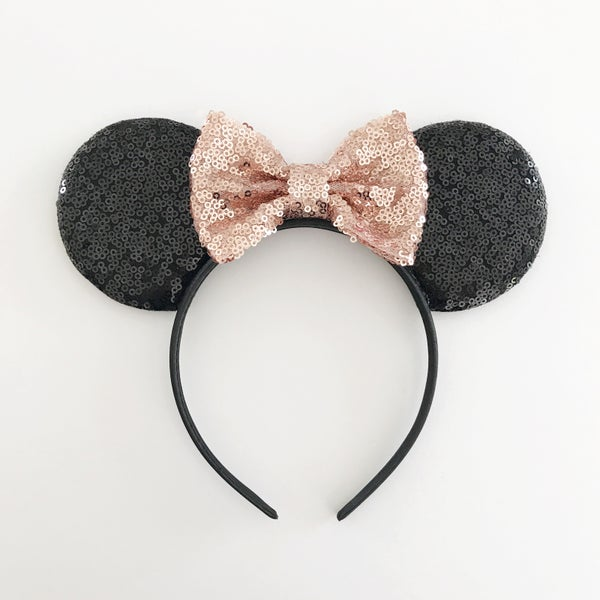 Image of Black sequin mouse ears with rose gold sequin bow
