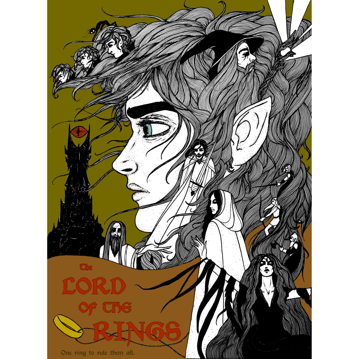 "Image of ""The Lord of the Rings"" Fan Art Giclée Poster"