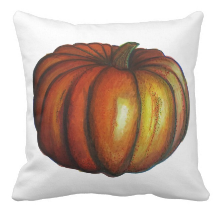 Image of Big Orange Pumpkin Square Pillow
