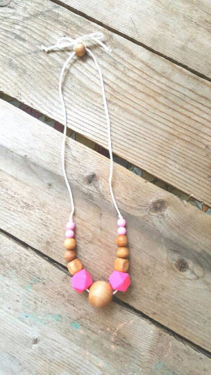 Image of Silicone and wood Teething and nursing necklace