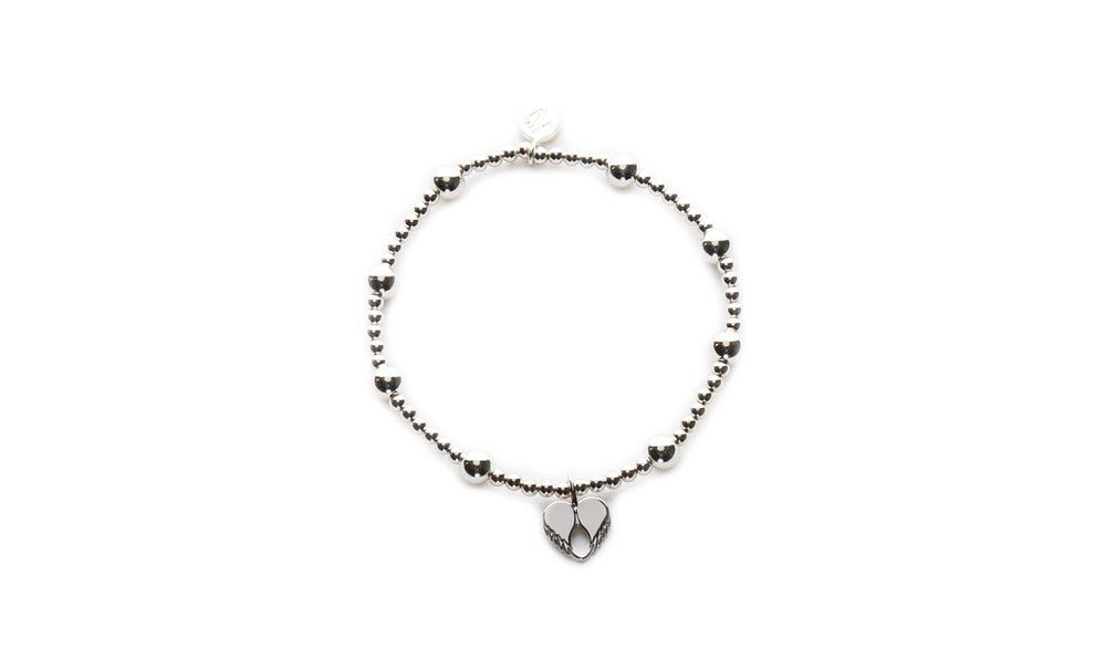 Image of Silver Angel Love Beaded Bracelet
